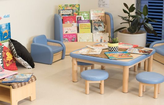 Reading corner encourages time with language and literacy
