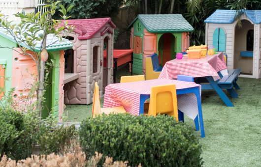 Outdoor play houses are a favourite place to explore