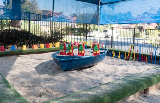 The sandpit ready for another day of play